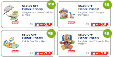 80 in printable coupons for fisher price toys and baby gear
