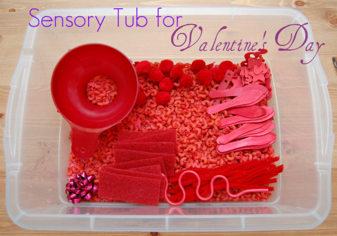 How to Make a Valentine's Day Sensory Tub. Click for more #sensory bin ideas for #ValentinesDay