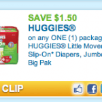 New Huggies Printable Coupon :: Save $1.50 on 1 Pack of Diapers