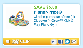 image about Fisher Price Printable Coupons called Contemporary Fisher-Selling price Printable Coupon: Help you save $5 upon a Kick Participate in Gymnasium