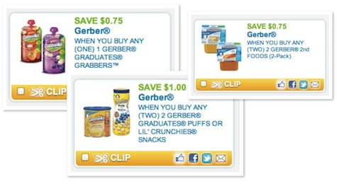 graphic about Gerber Printable Coupons titled Help save Up in direction of $8.50 upon Youngster Food items and Treats with Gerber