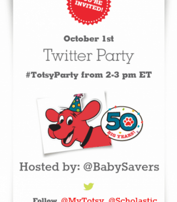 Join the Clifford Twitter Party on Monday, (10/1) at 2 pm EST and Win! #TotsyParty