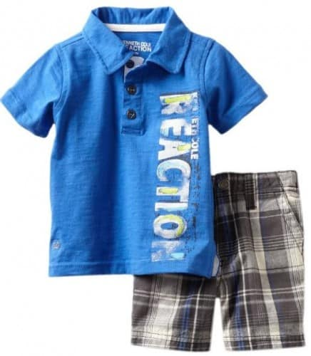 Kenneth Cole Baby-boys Infant Polo Shirt with Plaided Shorts