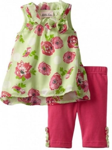 Little Lass Baby Girls Infant 2 Piece Floral Chiffon Skimmer Set