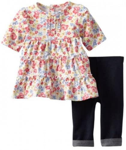 Little Me Baby-Girls Newborn Mixed Floral Dress and Legging Set