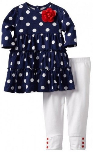 Little Me Baby-girls Infant Navy Dots Dress And Legging Set