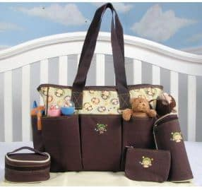 SOHO Curious Monkey 5 in 1 Deluxe Diaper Bag