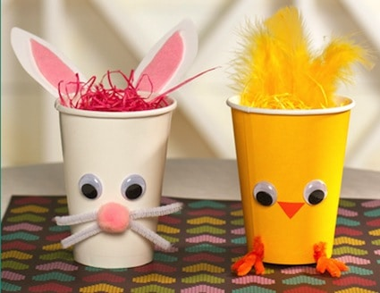 easter crafts for preschoolers bunny chick cups