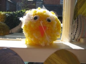 easter crafts for preschoolers chick pompoms