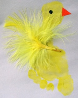 easter crafts for preschoolers footprint chick