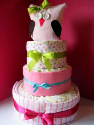 how to make an owl diaper cake