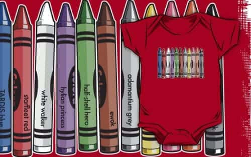 science fiction crayon colors onesie