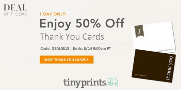 tiny prints promo code save 50 on thank you cards 24 hours only