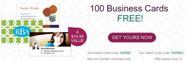 Inkgarden promo code 100 free business cards or mommy cards colourmoves Images