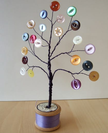 button crafts for kids: wire button tree