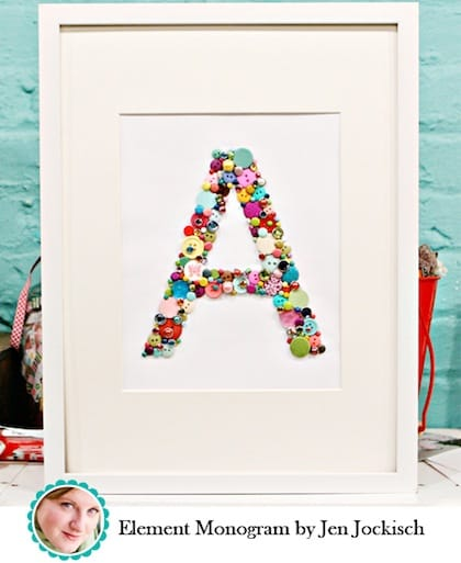 button crafts for kids: monogram art