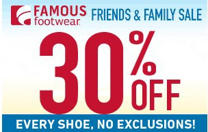 Famous Footwear Coupon: Save 30% off Entire Purchase