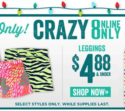 Crazy8: Leggings $4.88 or Less, $5 Rush Shipping + More!