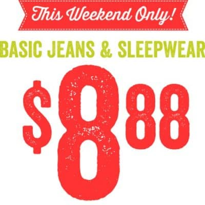 Crazy8: Basic Jeans & Sleepwear just $8.88 This Weekend Only!