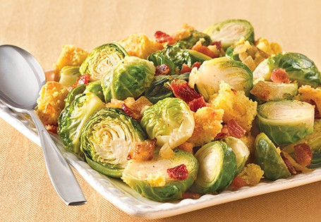 brussel sprouts cornbread stuffing with bacon