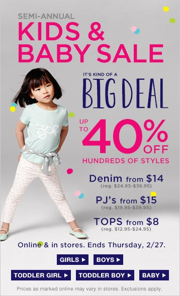 Browse this amazing girls' sale section at Gap and discover fashionable apparel at an unbelievable price. Whether you're looking for a single garment for a special occasion, or planning out her new looks for the coming seasons, you'll find plenty of stylish options in the collection.