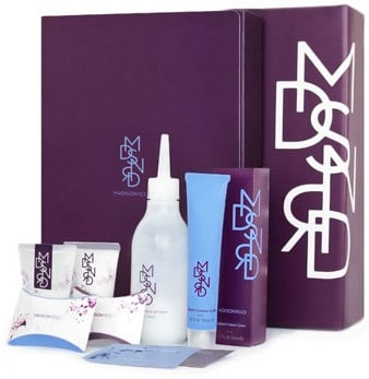 Full view of madison reed hair color kit with activator, hair dye, cap, gloves, shampoo and conditioner