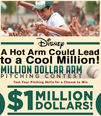 disney million dollar arm pitching contest