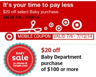 Target Coupon: $20 off $100 Baby Purchase!