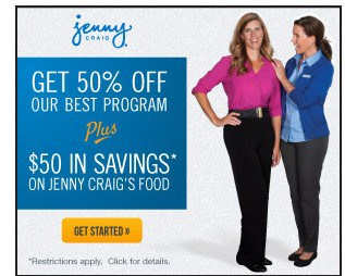 Jenny Craig Special Offer: 50% off + $50 Off Food!