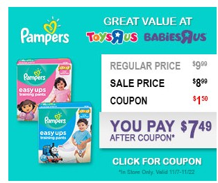 New Pampers Coupons to Print and Deal at ToysRUs and BabiesRUs!