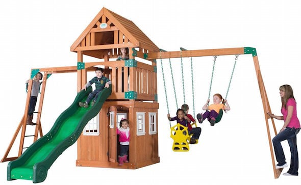 deal on cedar swing set
