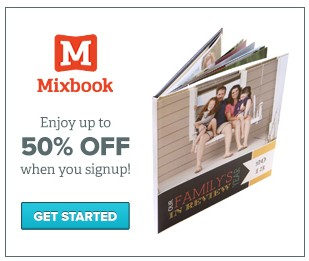 Here is a Mixbook coupon for 25% off your order. order your scrapblog keepsake books, calendar, greeting cards or post cards and enter holiday25 upon check out to redeem your discount. 5 GET PROMO .