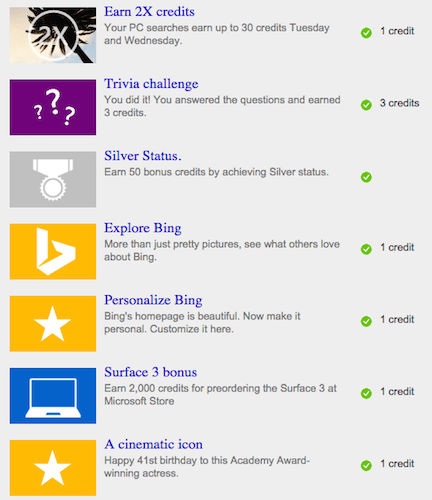 free bing rewards credits