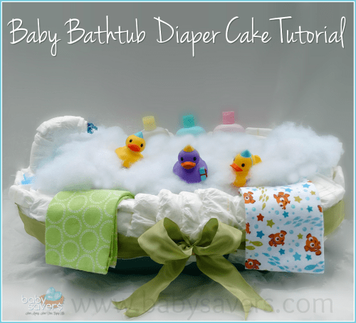how to make a baby bathtub diaper cake tutorial. Black Bedroom Furniture Sets. Home Design Ideas