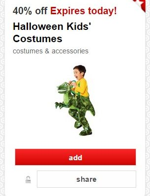 New Target Cartwheel Offers: 40% off Halloween Costumes, Accessories and Candy! Today Only!