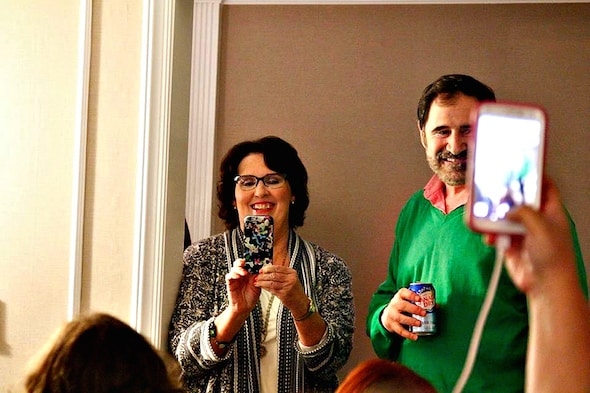 Phyllis Smith taking a picture