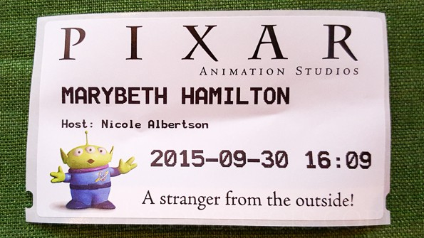 Pixar Animation Studios tour alien name tag