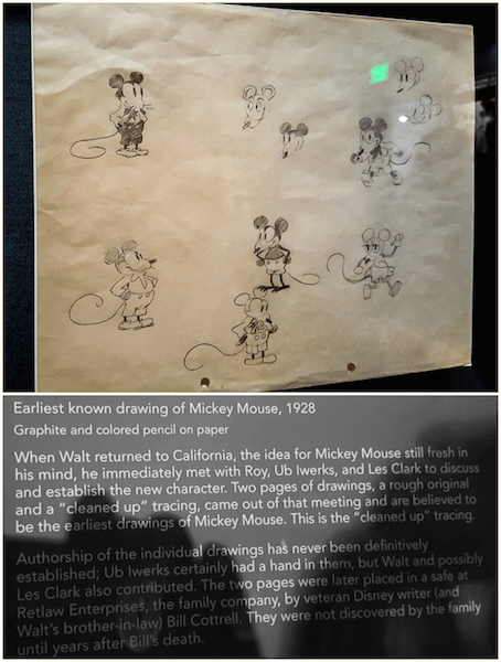 Earliest drawing of Mickey Mouse at Walt Disney family museum