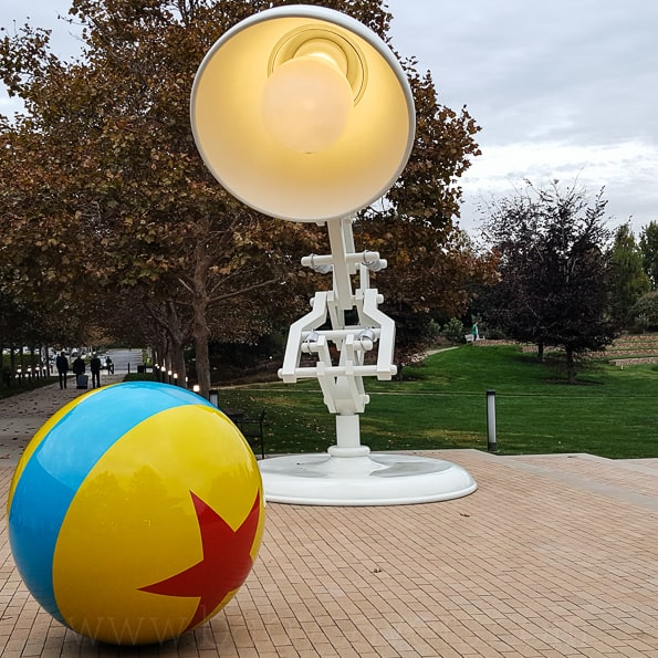 Pixar Animation Studios light and ball statues
