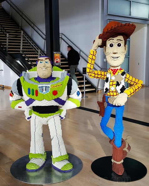 Pixar Animation Studios lego buzz and woody statues
