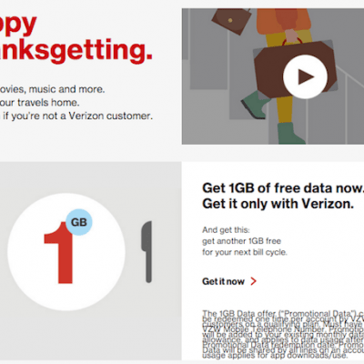 Verizon: THANKSGETTING with Freebies for Everyone (Not Just Verizon Customers)!