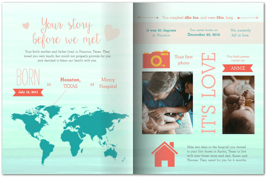 adoption story made with photo books