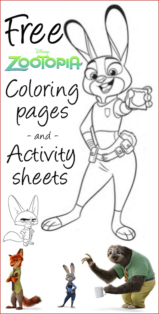 free zootopia printable coloring sheets