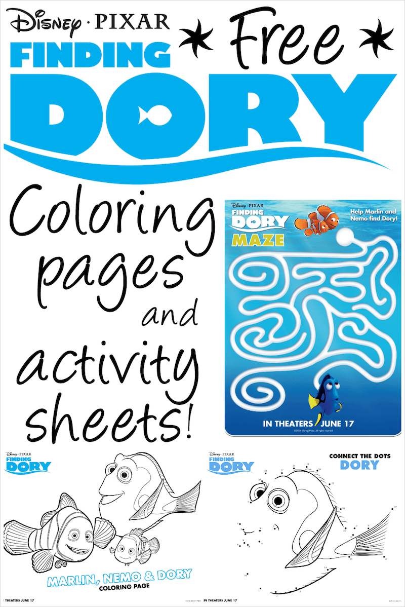 finding dory coloring pages activity sheets