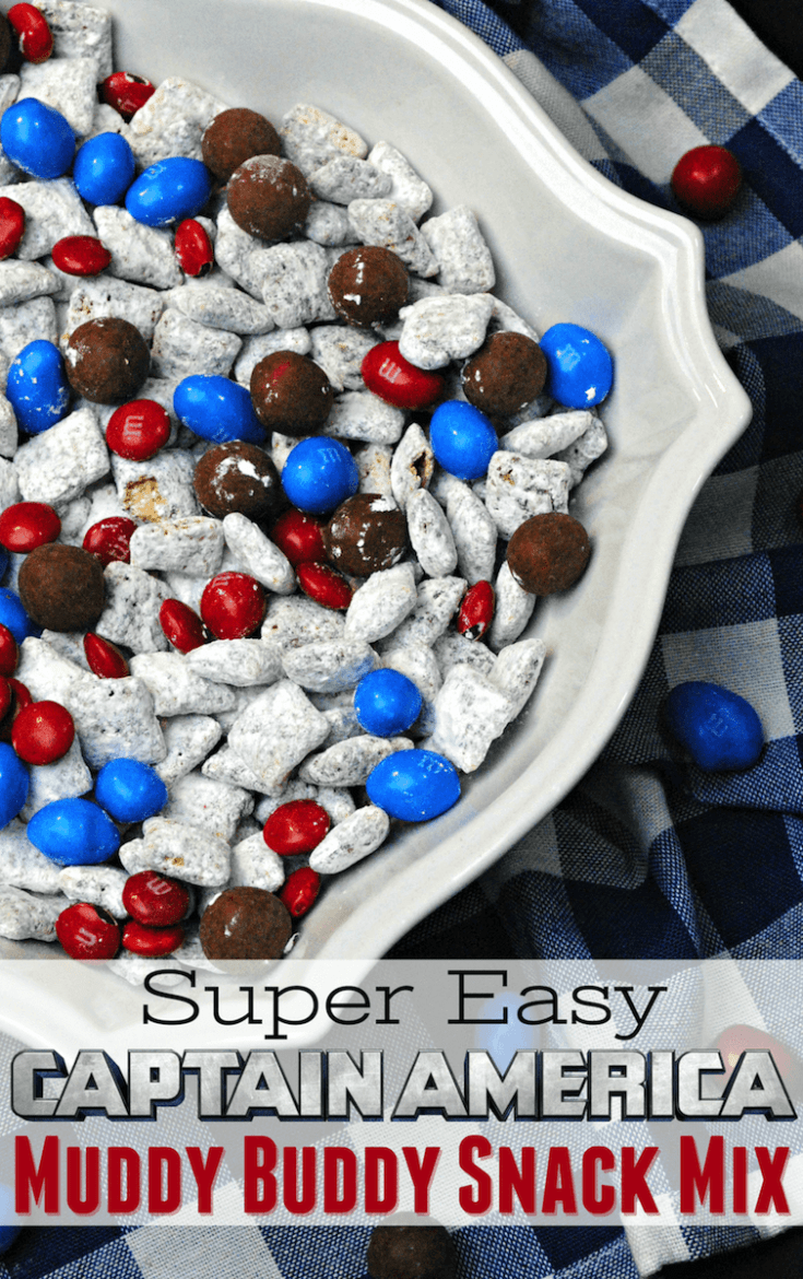 The best Captain America snack mix recipe:  Red, white and blue Muddy Buddies. This crispy chocolate and candy combo melts and crunches! A 4th of July Snack Mix Recipe: easy red, white and blue party food for picnic!