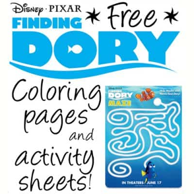 NEW Finding Dory Free Printable Coloring Pages and Activity Sheets!