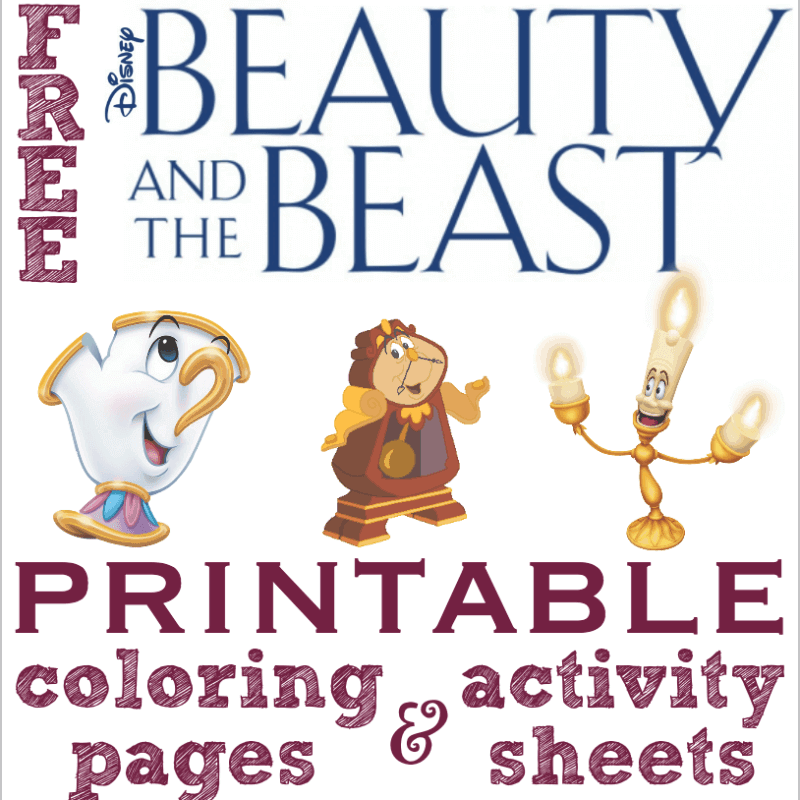 Printable Coloring Pictures Of Beauty And The Beast.  Free Printable Beauty and the Beast Coloring Pages Activity Sheets