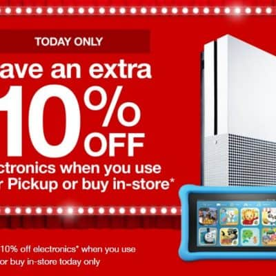 Target Online Deal: Extra 10% off Electronics – $224.99 XBOX ONE Bundle (with Free $30 Gift Card)