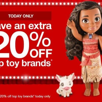 Target Online Deal: Extra 20% off Top Toy Brands Today Only!