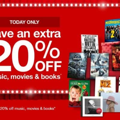 Target Online Deal: Extra 20% off Music, Movies and Books Today Only!